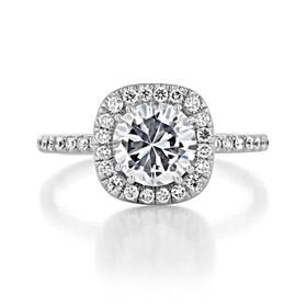 1 ct Danhov Per Lei Halo White Gold Engagement Ring  (LE102-CU)