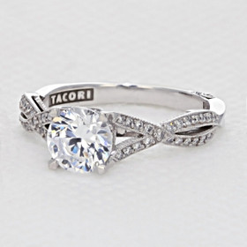 White Gold Tacori Ribbon Moissanite Engagement Ring (2565SMRD65-M)