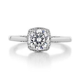 1.00 Ct. Round Moissanite Platinum Tacori Dantela Engagement Ring (2620RDSM-M)