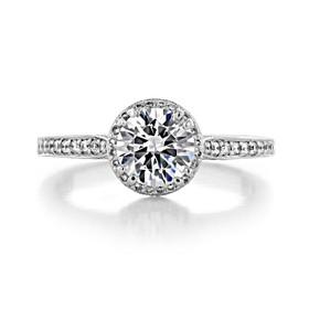 1.00 Ct. Round Moissanite Tacori Dantela Halo Engagement Ring (2639RDP65-M)