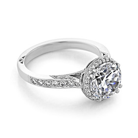 Platinum Tacori Dantela Moissanite Engagement Ring (2639RDP85-M)