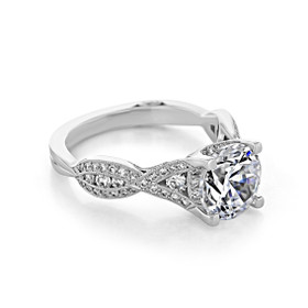 Platinum Tacori Ribbon Moissanite Engagement Ring (2647RD85-M)