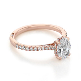 Rose Gold Simply Tacori Oval Moissanite Engagement Ring (2671OV8X6-M)