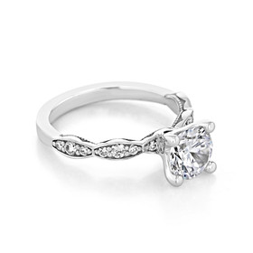 Platinum Tacori Sculpted Crescent Moissanite Engagement Ring (46-25RD7-M)