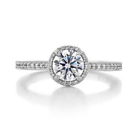 .80 Ct. Round Moissanite Tacori Platinum Sculpted Crescent Engagement Ring (49RDP6-M)
