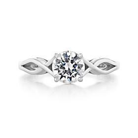1.00 Ct. Round Moissanite Tacori Platinum Sculpted Crescent Engagement Ring (51RD65-M)