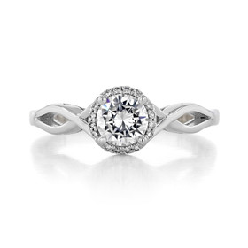 .60 Ct. Round Moissanite Platinum Tacori Sculpted Crescent Halo Engagement Ring (52RD55-M)