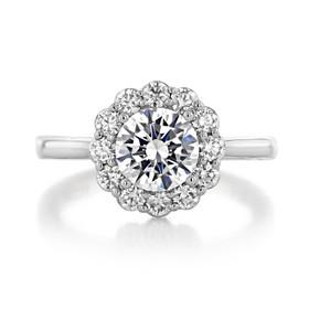 1.20 Ct. Round Moissanite Tacori Platinum Full Bloom Engagement Ring (55-2RD7-M)