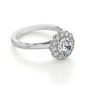 Tacori Platinum Full Bloom Moissanite Engagement Ring (55-2RD7-M)