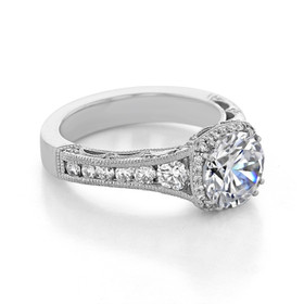 Platinum Tacori Reverse Crescent Moissanite Engagement Ring (HT2515RD8-M)