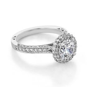 White Gold Tacori Blooming Beauties Moissanite Engagement Ring (HT2522RD7-M)