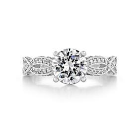 1.50 Ct. Round Moissanite Platinum Tacori Ribbon Engagement Ring (HT2528RD75-M)