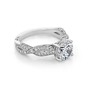 Platinum Tacori Ribbon Moissanite Engagement Ring (HT2528RD75-M)