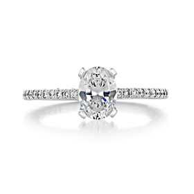 .90 Ct. Oval Shape Moissanite Tacori Petite Crescent Engagement Ring (HT254515OV-M)