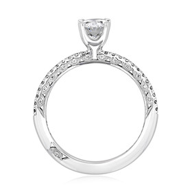 White Gold Tacori Petite Crescent Oval Moissanite Engagement Ring (HT254515OV-M)