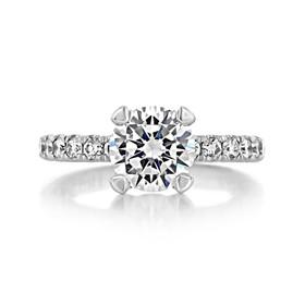 2.00 Ct. Round Moissanite Platinum Tacori Petite Crescent Engagement Ring (HT254525RD8-M)