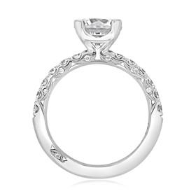 Platinum Tacori Petite Crescent Moissanite Engagement Ring (HT254525RD8-M)