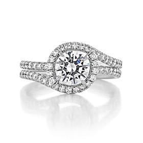 1 ct Danhov Abbraccio Halo White Gold Engagement Ring  (AE144)