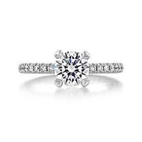 1.20 Ct. Round Moissanite Platinum Tacori Petite Crescent Engagement Ring (HT2545RD7-M)
