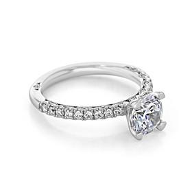 Platinum Tacori Petite Crescent Moissanite Engagement Ring (HT2545RD7-M)
