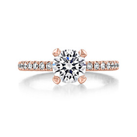1.50 Ct. Round Moissanite Rose Gold Tacori Petite Crescent Engagement Ring (HT2545RD7PK-M)
