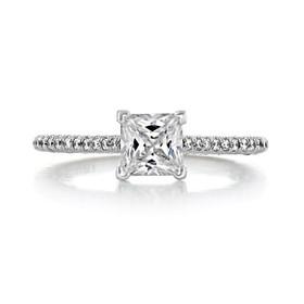 1.00 Ct. Princess Cut Moissanite Platinum Tacori Petite Crescent Engagement Ring (HT254615PR55-M)