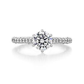 1.00 Ct. Round Moissanite Platinum Tacori Petite Crescent Engagement Ring (HT2546RD65-M)
