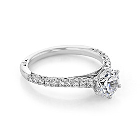 Platinum Tacori Petite Crescent Moissanite Engagement Ring (HT2546RD65-M)