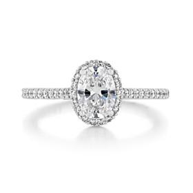 .90 Ct. Oval Shape Moissanite Tacori Petite Crescent Halo Engagement Ring (HT254715OV75X55-M)