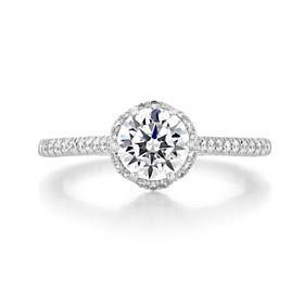 1.00 Ct. Round Moissanite Platinum Tacori Petite Crescent Engagement Ring (HT254715RD65-M)