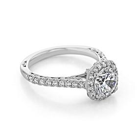 Platinum Tacori Petite Crescent Moissanite Engagement Ring (HT2547CU7-M)