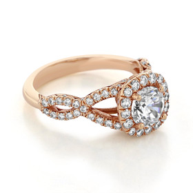 Rose Gold Tacori Petite Crescent Moissanite Engagement Ring (HT2549CU65-M)
