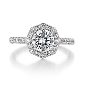 1.20 Ct. Round Moissanite Tacori Petite Crescent Engagement Ring (HT2556RD7-M)