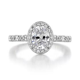 1.50 Ct. Oval Shape Moissanite Platinum Tacori Petite Crescent Engagement Ring (HT2560-OV8X6-M)