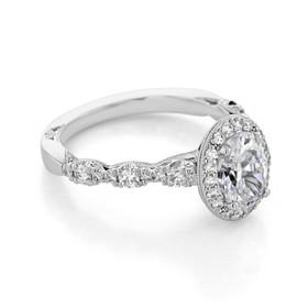 Platinum Tacori Petite Crescent Oval Moissanite Ring (HT2560-OV8X6-M)