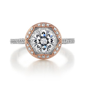 1.20 Ct. Round Moissanite Two-Tone Tacori Crescent Chandelier Engagement Ring (HT2570RD7-M)