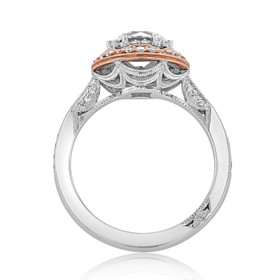 Rose and White Gold Tacori Crescent Chandelier Moissanite Ring (HT2570RD7-M)