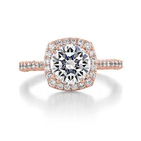 1.50 Ct. Round Moissanite Tacori Rose Gold Petite Crescent Engagement Ring (HT2571CU75-M)