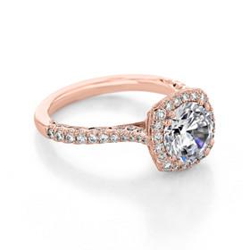 Rose Gold Tacori Petite Crescent Moissanite Engagement Ring (HT2571CU75-M)