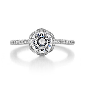 1.20 Ct. Round Moissanite Tacori Petite Crescent Halo Engagement Ring (HT257215RD7-M)