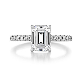 1.70 Ct. Emerald Cut Moissanite Micro Prong Engagement Ring (CR160EC-M)
