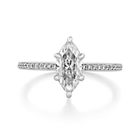 1.00 Ct. Marquise Shape Moissanite Pavé Engagement Ring (DC14MQ-M)