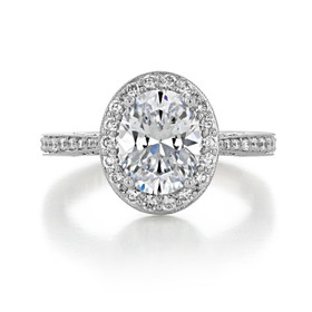 Platinum Tacori RoyalT Oval Moissanite Engagement Ring (HT2652OV9X7-M)