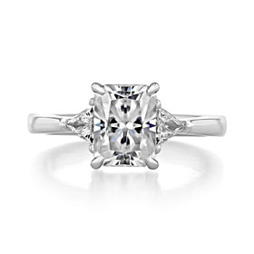 2.00 Ct. Radiant Cut Moissanite Baguette Three-Stone Engagement Ring (TR95-M)