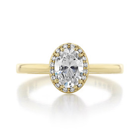 Yellow Gold Tacori Coastal Crescent Oval Engagement Ring (P101OV75X55-M)