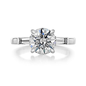 2 ct Round Baguette Three-Stone White Gold Engagement Ring (TR94)