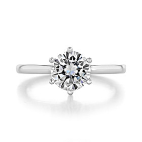 1.25 ct Round 6-Prong Solitaire White Gold Engagement Ring (EV17)
