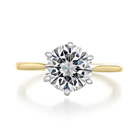 2.50 Ct. Round 6-Prong Two-Tone Solitaire Engagement Ring (EV117T)