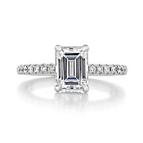 1.50 Ct. Emerald Cut Moissanite Platinum Micro-Prong Engagement Ring (CR19EC-M)