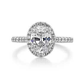 1.50 ct Oval Halo White Gold Engagement Ring (CR14OV)